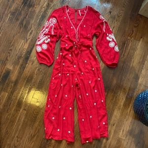 Free people red jumpsuit